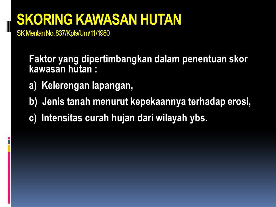 SKORING KAWASAN HUTAN SK Mentan No. 837/Kpts/Um/11/1980