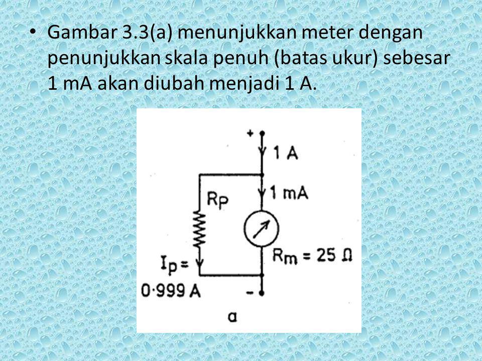 Gambar 3.3(a) menunjukkan meter dengan penunjukkan skala penuh (batas ukur) sebesar 1 mA akan diubah menjadi 1 A.