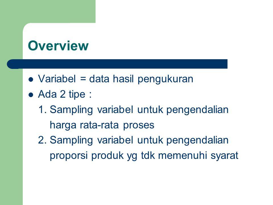 Overview Variabel = data hasil pengukuran Ada 2 tipe :