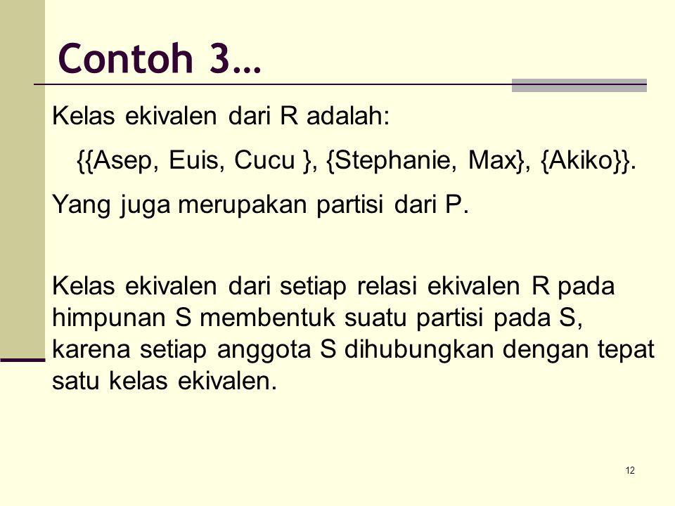 {{Asep, Euis, Cucu }, {Stephanie, Max}, {Akiko}}.