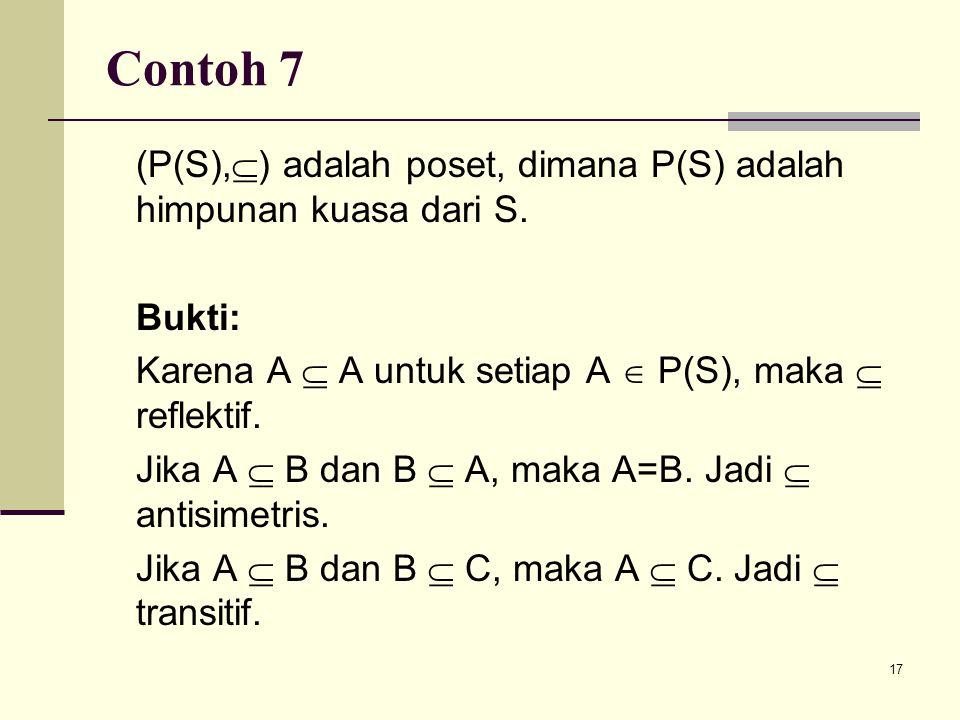 Contoh 7 (P(S),) adalah poset, dimana P(S) adalah himpunan kuasa dari S. Bukti: Karena A  A untuk setiap A  P(S), maka  reflektif.
