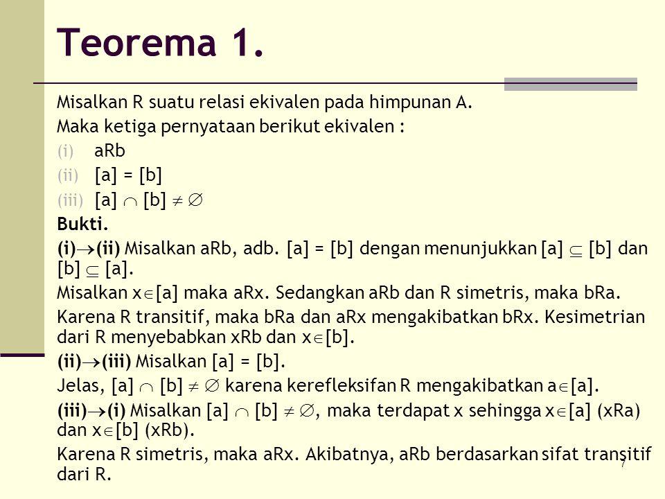 Teorema 1. Misalkan R suatu relasi ekivalen pada himpunan A.