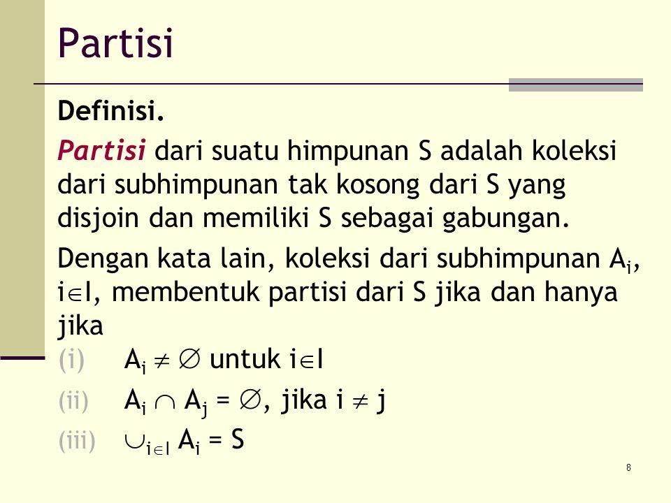 Partisi Definisi. Partisi dari suatu himpunan S adalah koleksi dari subhimpunan tak kosong dari S yang disjoin dan memiliki S sebagai gabungan.