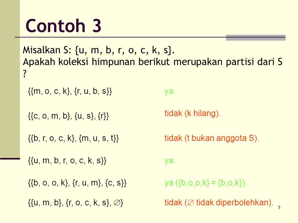 Contoh 3 Misalkan S: {u, m, b, r, o, c, k, s}. Apakah koleksi himpunan berikut merupakan partisi dari S