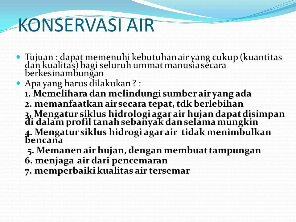 KONSERVASI AIR Tujuan : dapat memenuhi kebutuhan air yang cukup (kuantitas dan kualitas) bagi seluruh ummat manusia secara berkesinambungan.