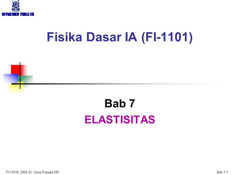 Fisika Dasar IA (FI-1101) Bab 7 ELASTISITAS