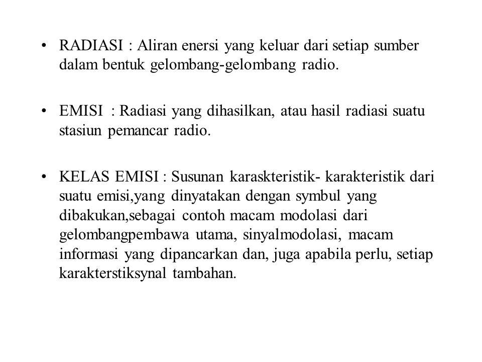 RADIASI : Aliran enersi yang keluar dari setiap sumber dalam bentuk gelombang-gelombang radio.