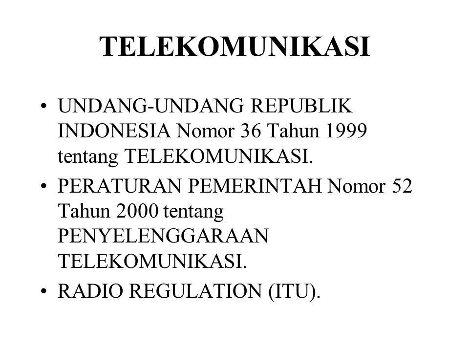 TELEKOMUNIKASI UNDANG-UNDANG REPUBLIK INDONESIA Nomor 36 Tahun 1999 tentang TELEKOMUNIKASI.
