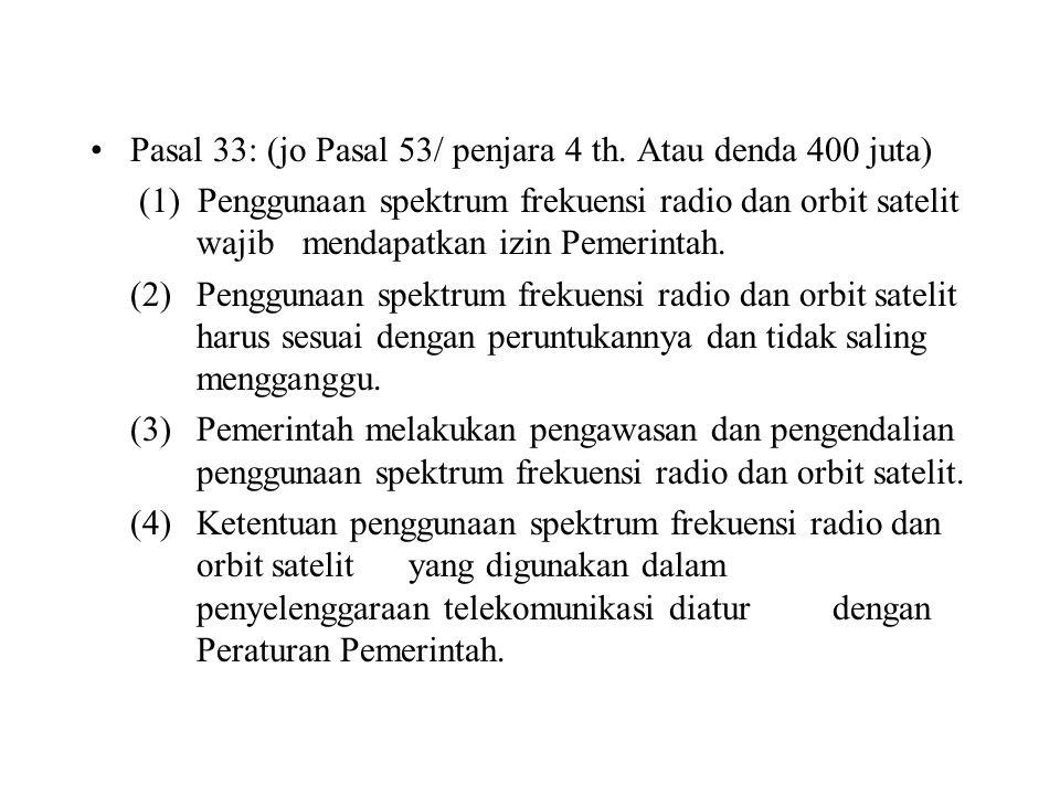 Pasal 33: (jo Pasal 53/ penjara 4 th. Atau denda 400 juta)