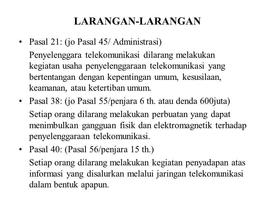 LARANGAN-LARANGAN Pasal 21: (jo Pasal 45/ Administrasi)