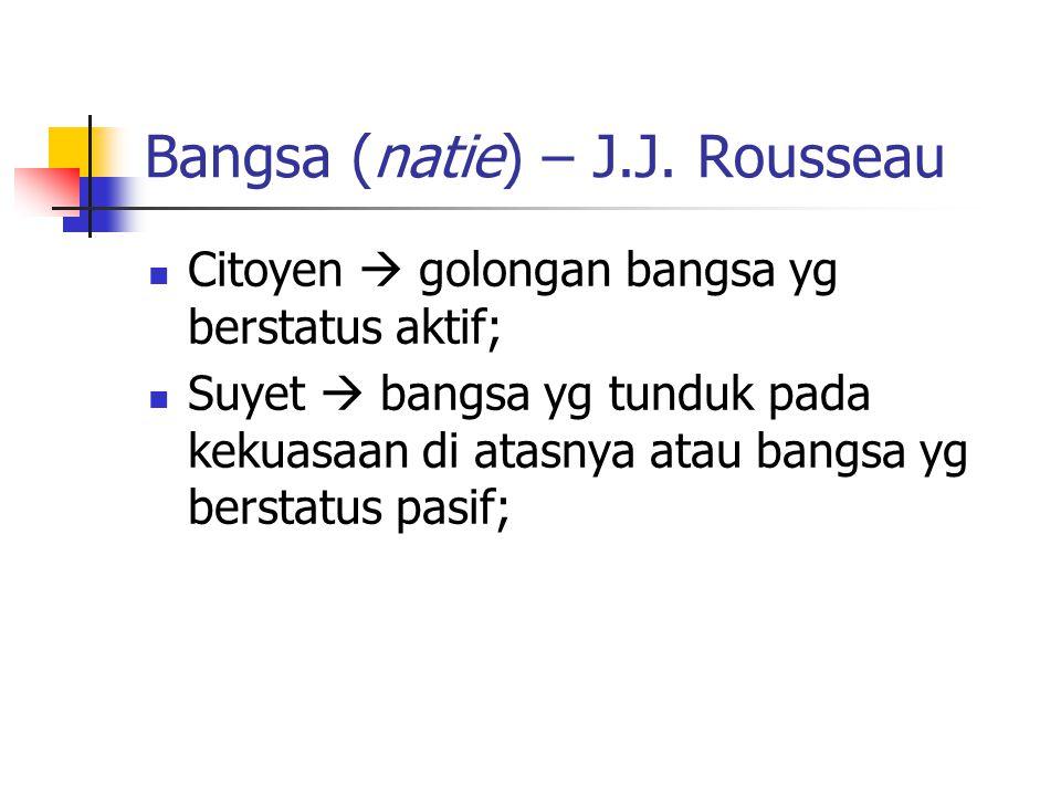 Bangsa (natie) – J.J. Rousseau