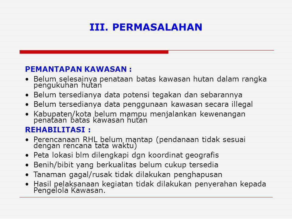 III. PERMASALAHAN PEMANTAPAN KAWASAN :