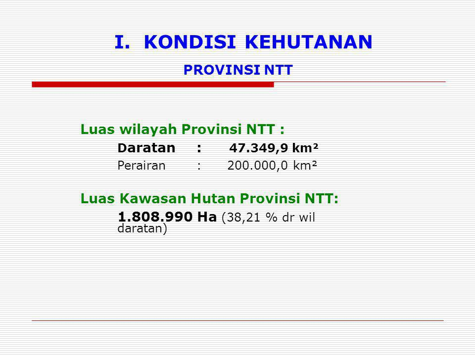 I. KONDISI KEHUTANAN PROVINSI NTT Luas wilayah Provinsi NTT :