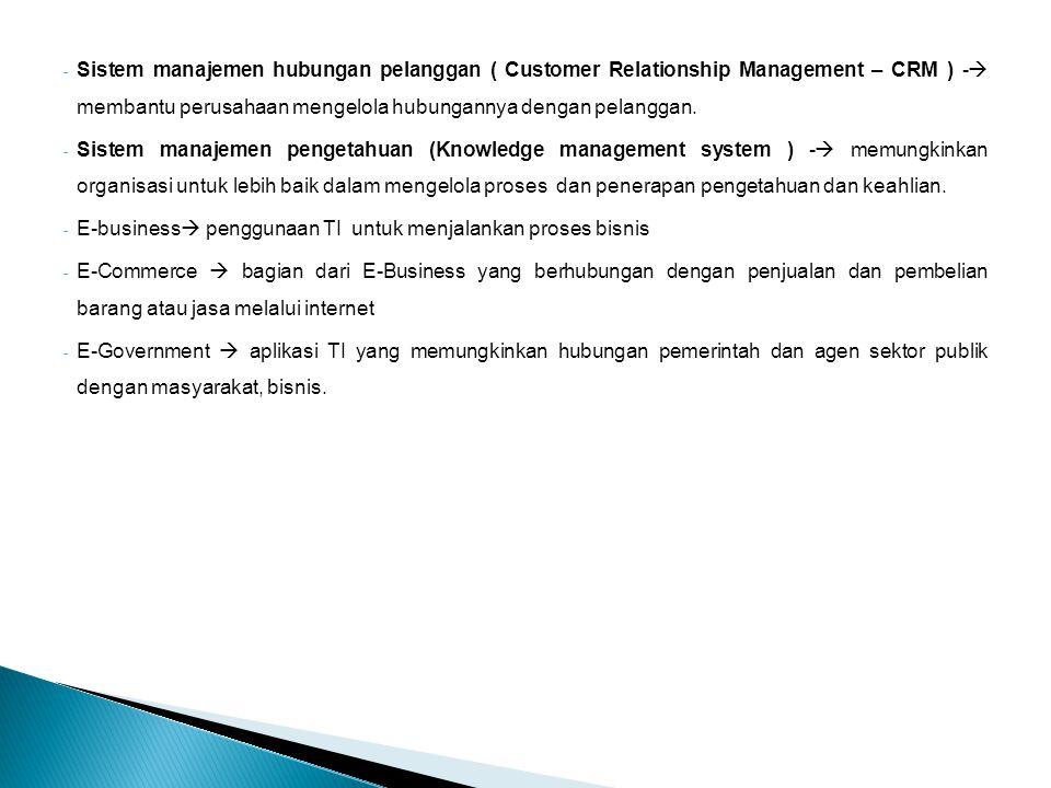 Sistem manajemen hubungan pelanggan ( Customer Relationship Management – CRM ) - membantu perusahaan mengelola hubungannya dengan pelanggan.