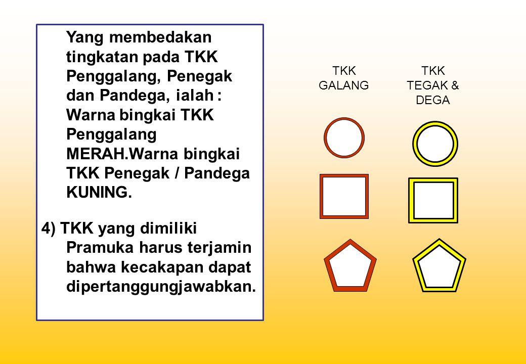 Yang membedakan tingkatan pada TKK Penggalang, Penegak dan Pandega, ialah :