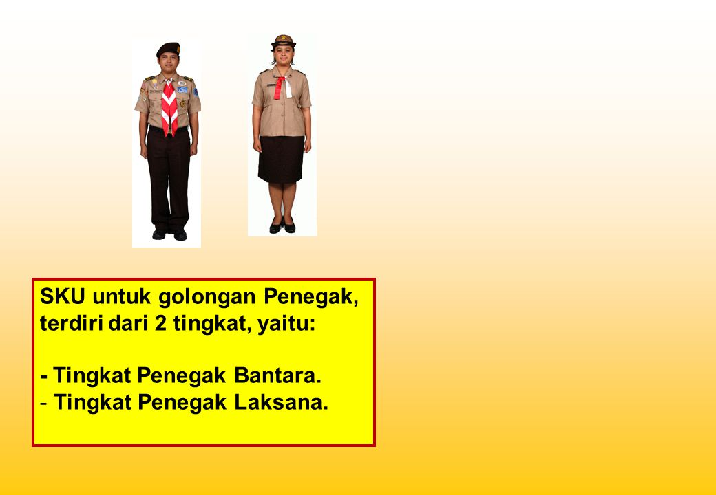 SKU untuk golongan Penegak, terdiri dari 2 tingkat, yaitu: