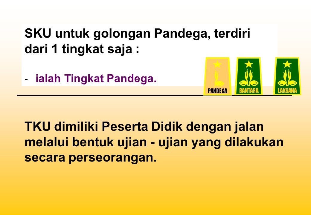 SKU untuk golongan Pandega, terdiri dari 1 tingkat saja :