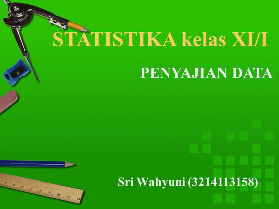 STATISTIKA kelas XI/I PENYAJIAN DATA Sri Wahyuni (3214113158)