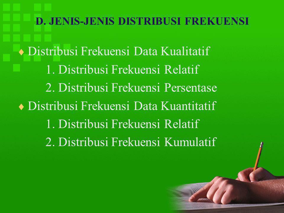 D. JENIS-JENIS DISTRIBUSI FREKUENSI