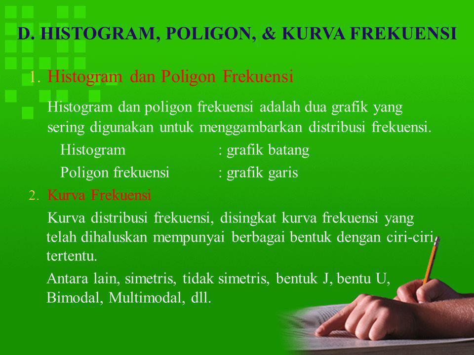 D. HISTOGRAM, POLIGON, & KURVA FREKUENSI