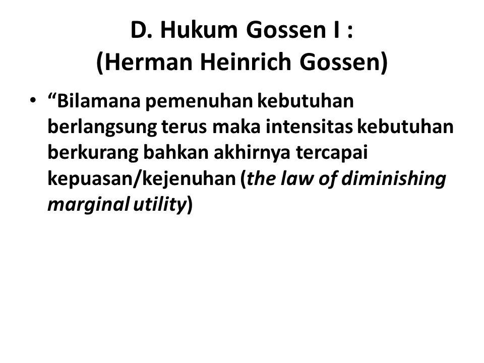 D. Hukum Gossen I : (Herman Heinrich Gossen)