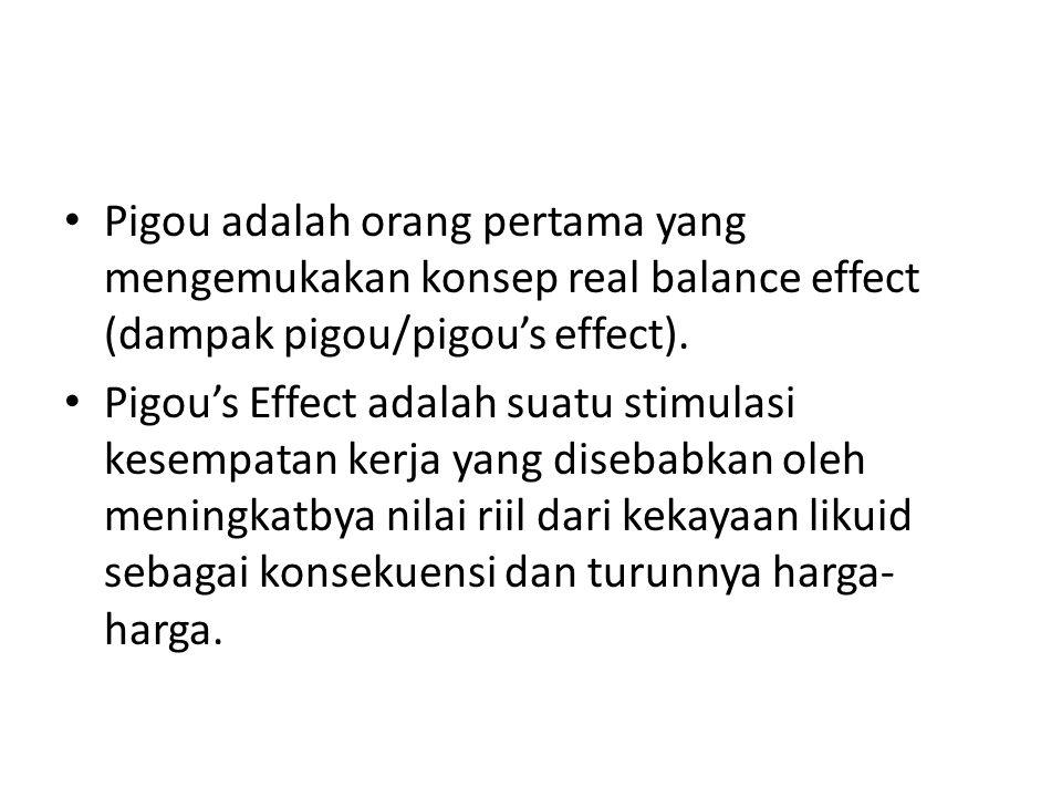 Pigou adalah orang pertama yang mengemukakan konsep real balance effect (dampak pigou/pigou's effect).
