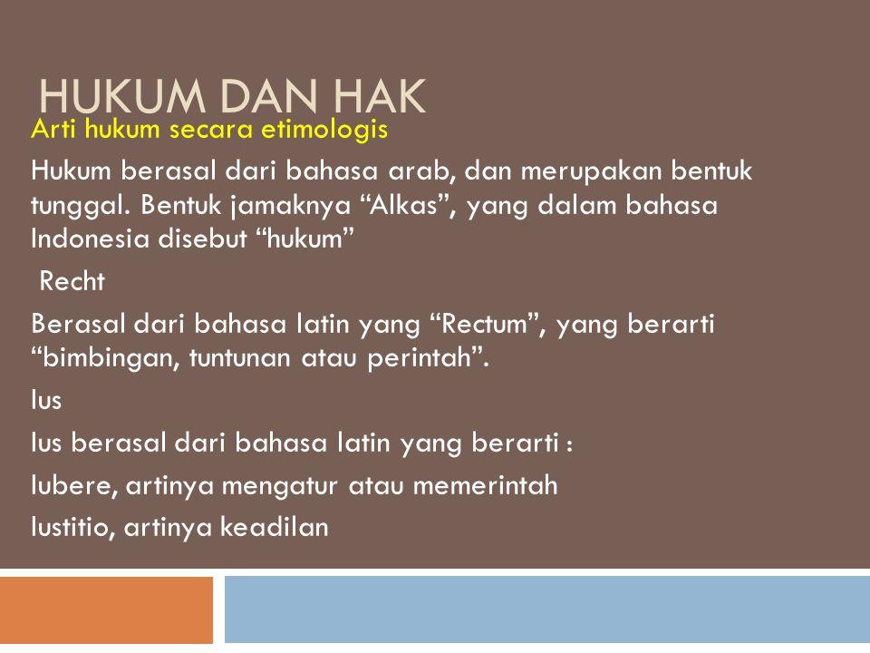 Hukum Dan Hak Arti hukum secara etimologis