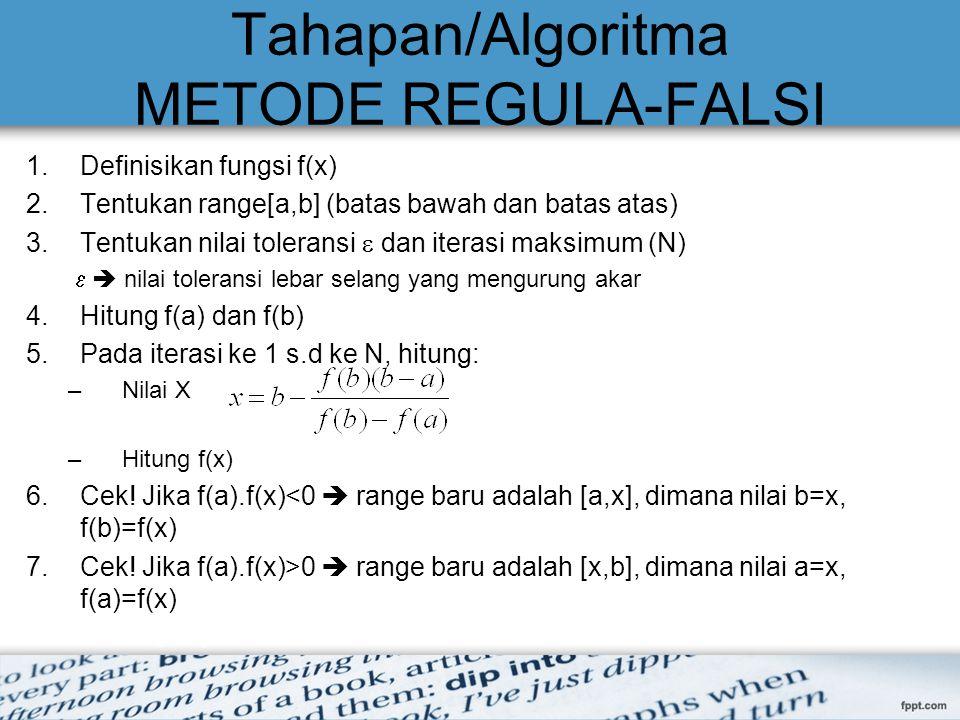 Tahapan/Algoritma METODE REGULA-FALSI
