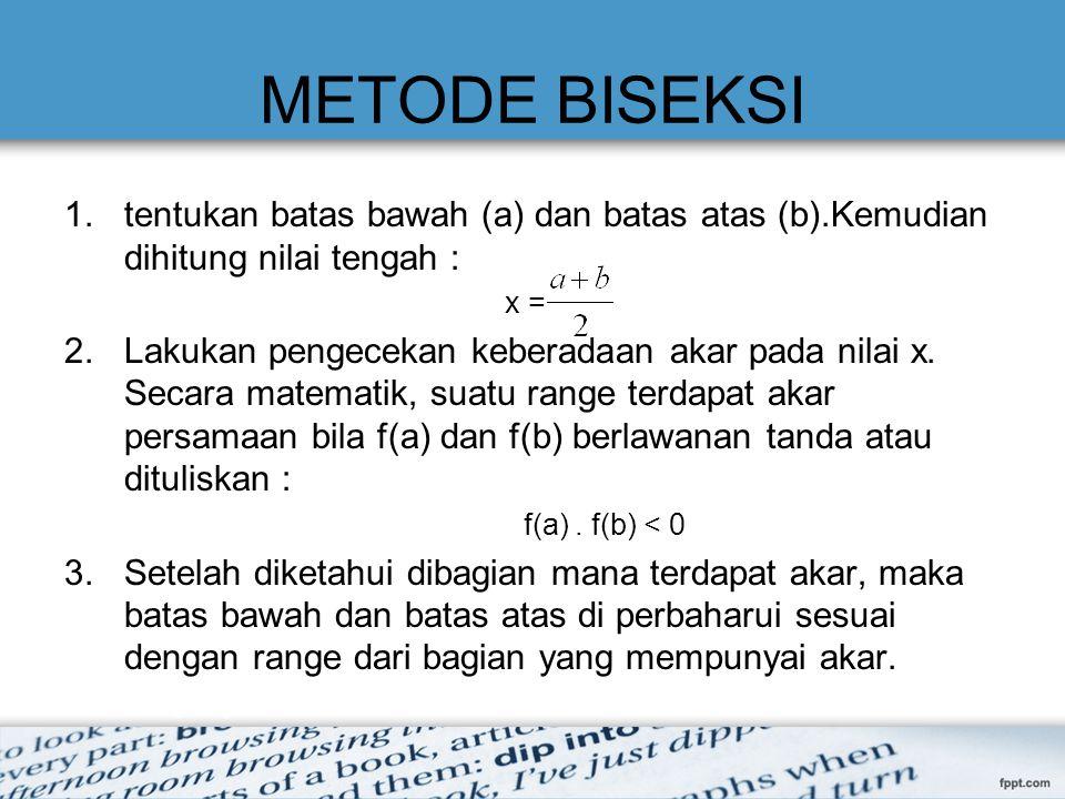 METODE BISEKSI tentukan batas bawah (a) dan batas atas (b).Kemudian dihitung nilai tengah : x =