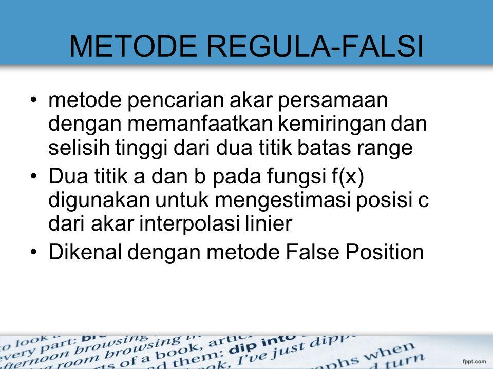 METODE REGULA-FALSI metode pencarian akar persamaan dengan memanfaatkan kemiringan dan selisih tinggi dari dua titik batas range.