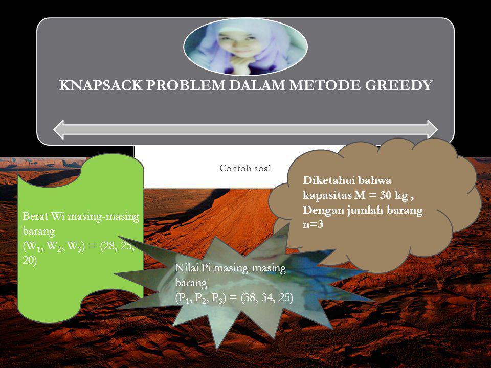 KNAPSACK PROBLEM DALAM METODE GREEDY