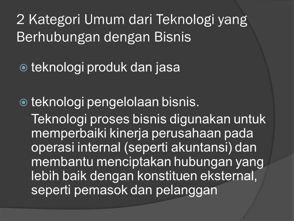 2 Kategori Umum dari Teknologi yang Berhubungan dengan Bisnis