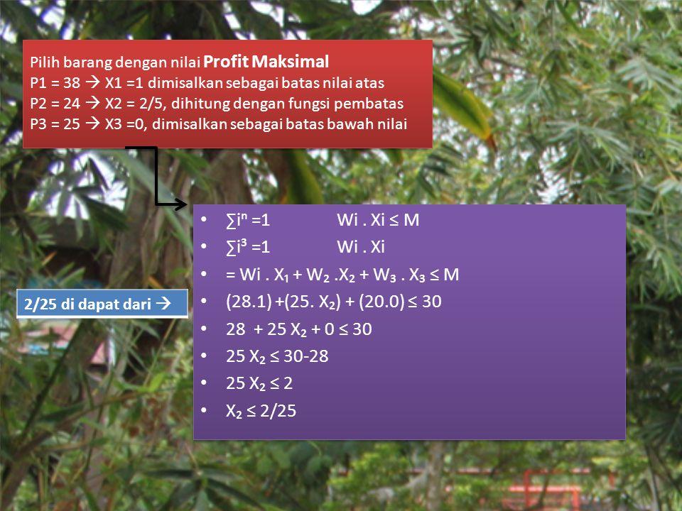 ∑iⁿ =1 Wi . Xi ≤ M ∑i³ =1 Wi . Xi = Wi . X₁ + W₂ .X₂ + W₃ . X₃ ≤ M
