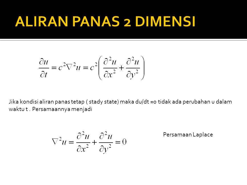 ALIRAN PANAS 2 DIMENSI Jika kondisi aliran panas tetap ( stady state) maka du/dt =0 tidak ada perubahan u dalam.