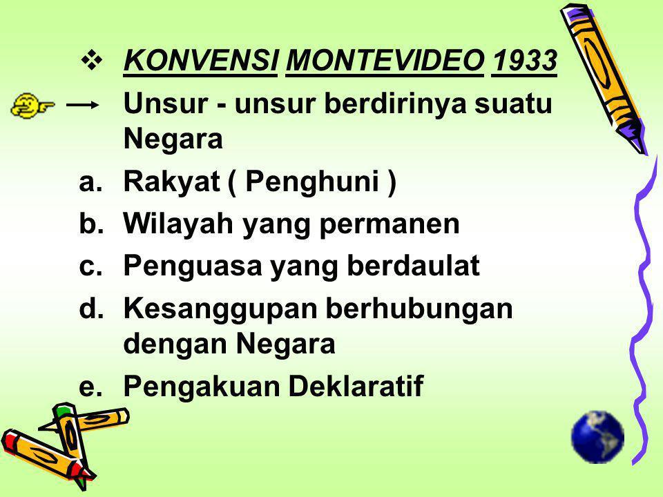 KONVENSI MONTEVIDEO 1933 Unsur - unsur berdirinya suatu Negara. Rakyat ( Penghuni ) Wilayah yang permanen.