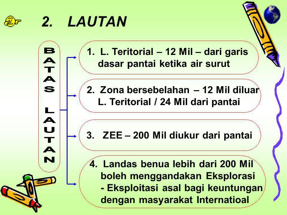LAUTAN BATAS LAUTAN L. Teritorial – 12 Mil – dari garis