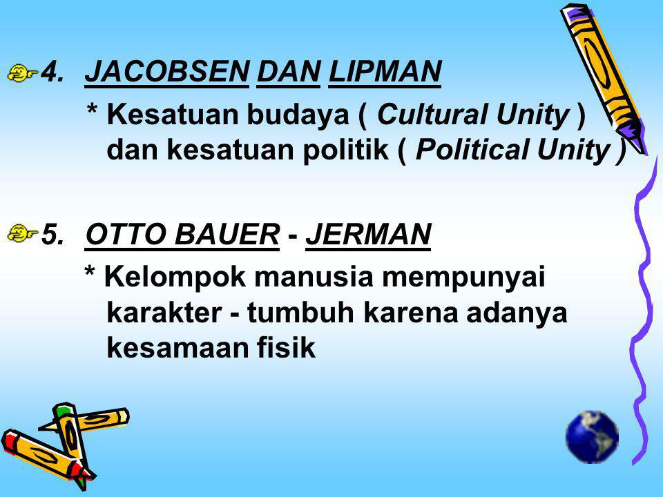 JACOBSEN DAN LIPMAN * Kesatuan budaya ( Cultural Unity ) dan kesatuan politik ( Political Unity ) OTTO BAUER - JERMAN.