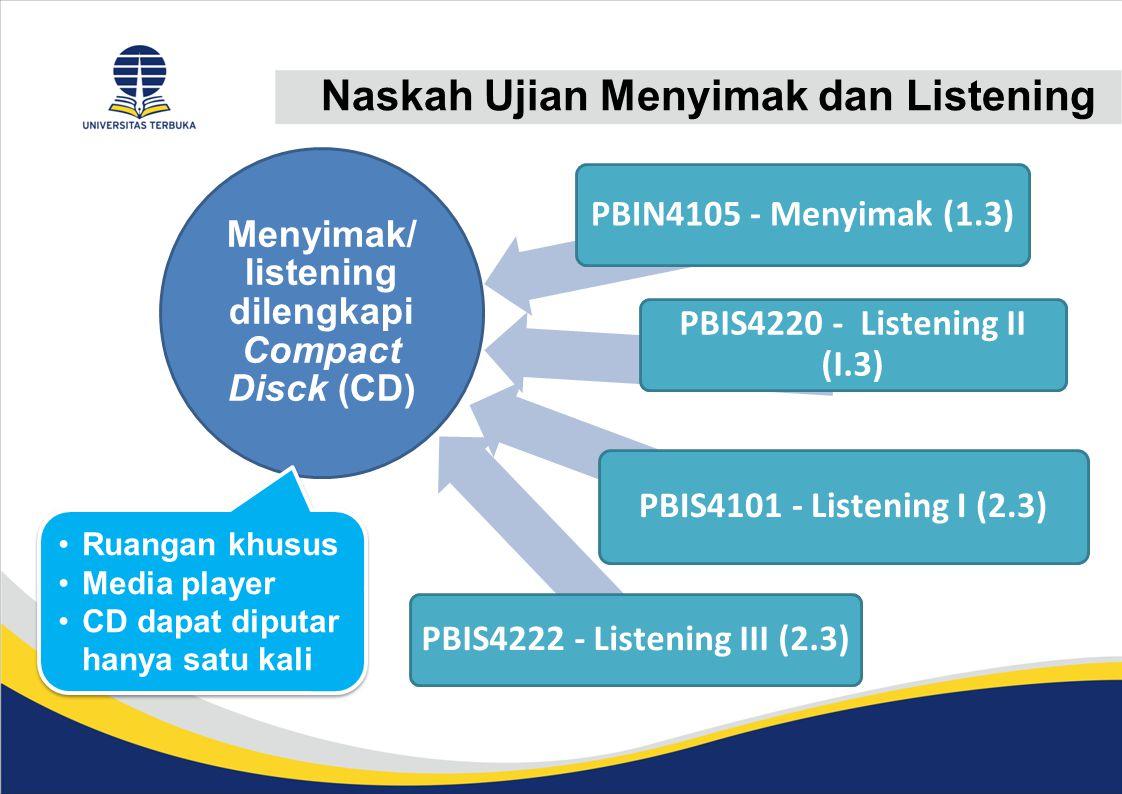 Menyimak/ listening dilengkapi Compact Disck (CD)