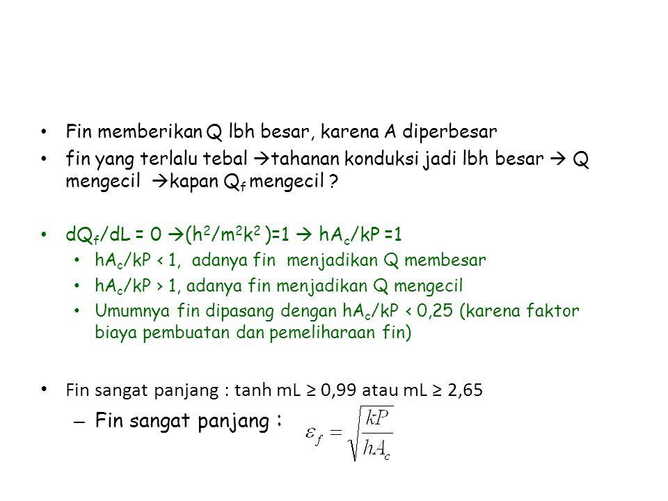 Fin sangat panjang : tanh mL ≥ 0,99 atau mL ≥ 2,65