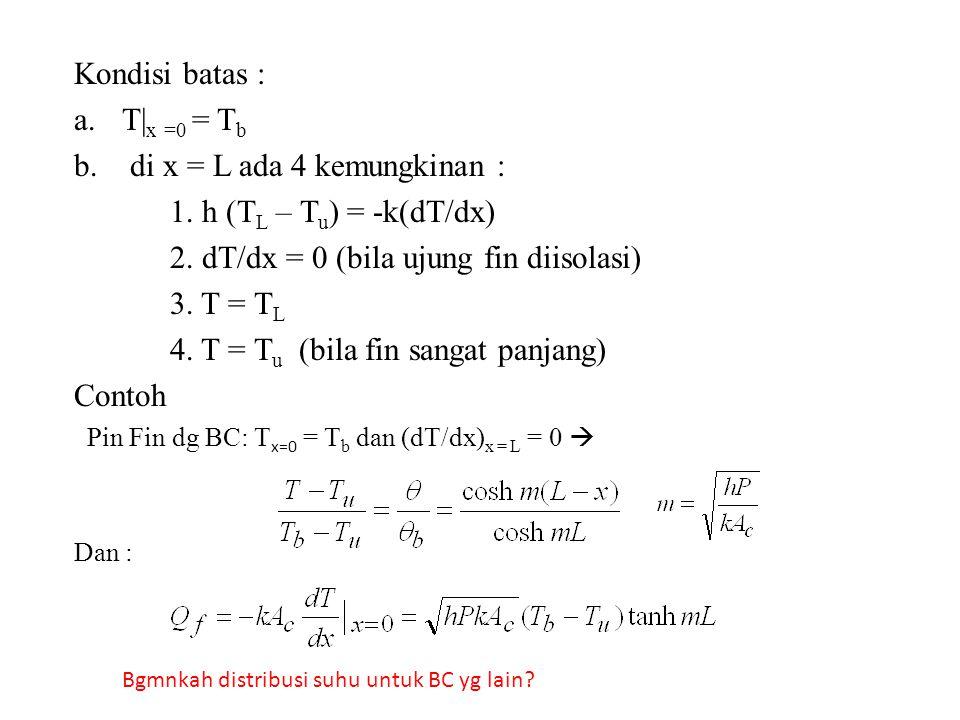 di x = L ada 4 kemungkinan : 1. h (TL – Tu) = -k(dT/dx)