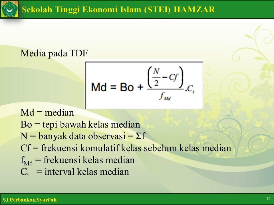 Media pada TDF Md = median Bo = tepi bawah kelas median N = banyak data observasi = Σf Cf = frekuensi komulatif kelas sebelum kelas median fMd = frekuensi kelas median Ci = interval kelas median