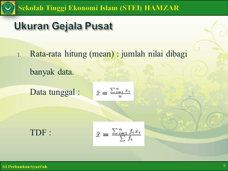 Ukuran Gejala Pusat Rata-rata hitung (mean) : jumlah nilai dibagi banyak data. Data tunggal : TDF :