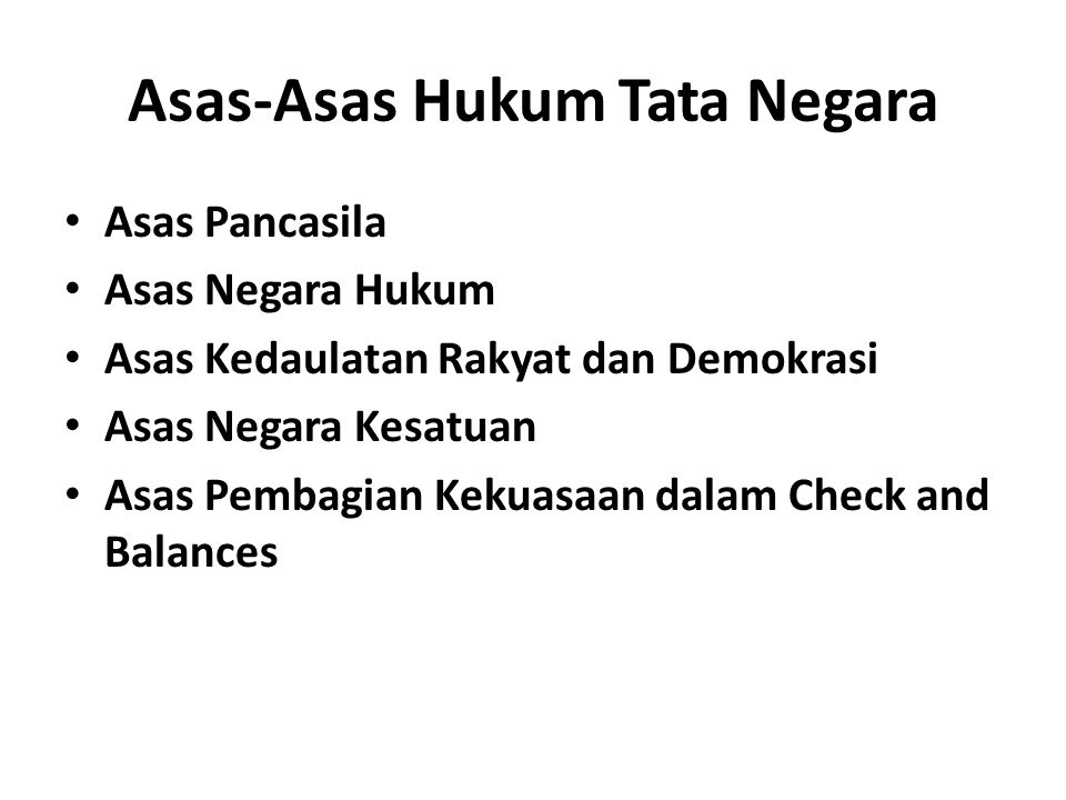 Asas-Asas Hukum Tata Negara