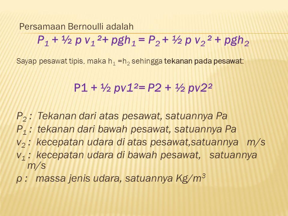 P1 + ½ p v1 ²+ pgh1 = P2 + ½ p v2 ² + pgh2