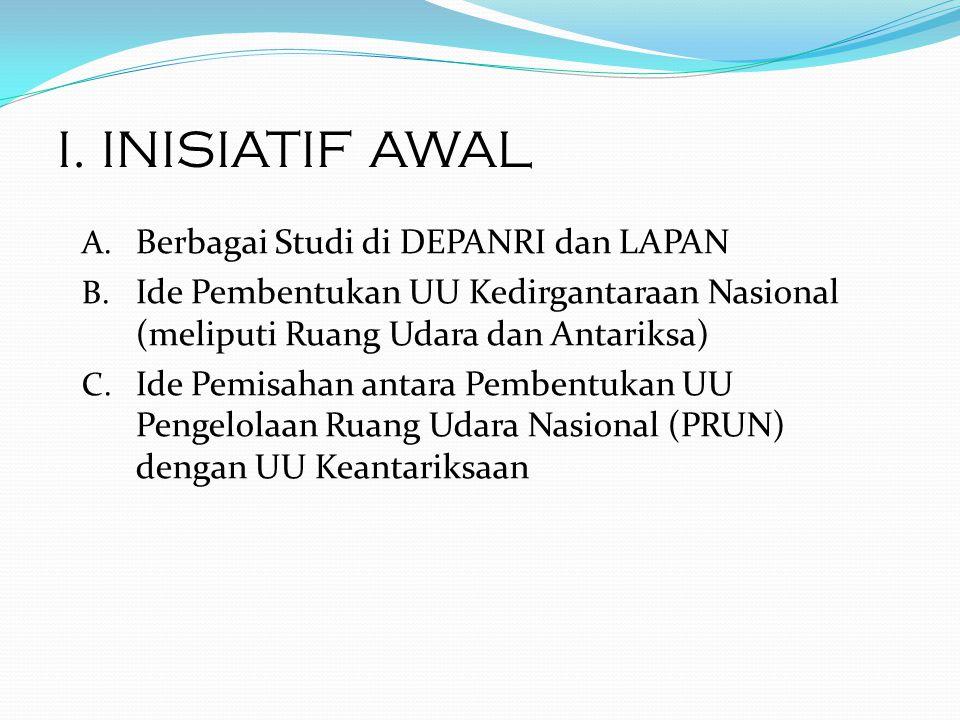 I. INISIATIF AWAL Berbagai Studi di DEPANRI dan LAPAN