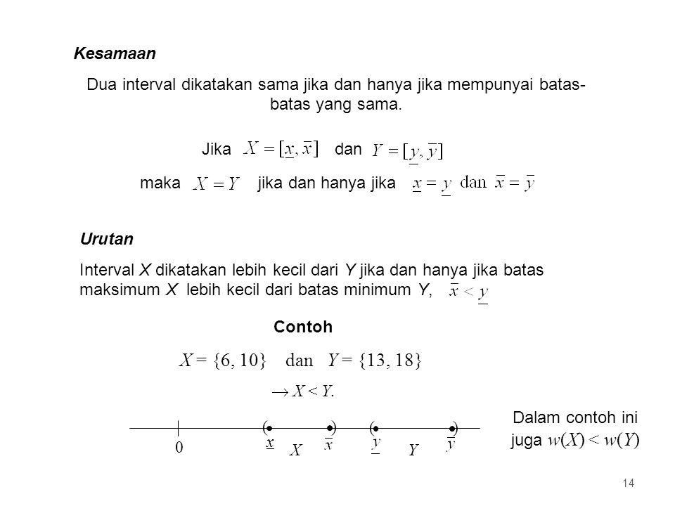 Dalam contoh ini juga w(X) < w(Y)