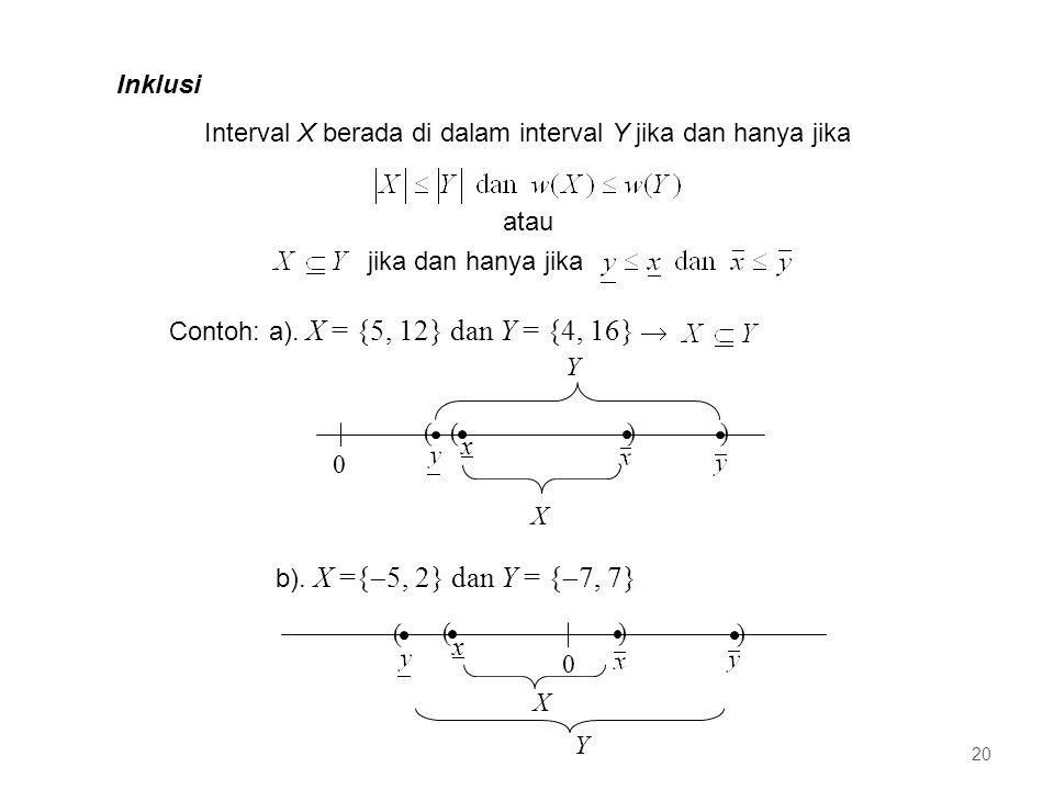 Interval X berada di dalam interval Y jika dan hanya jika