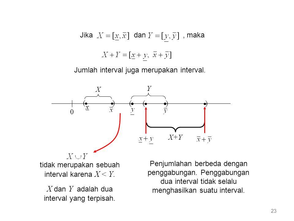 X dan Y adalah dua interval yang terpisah.