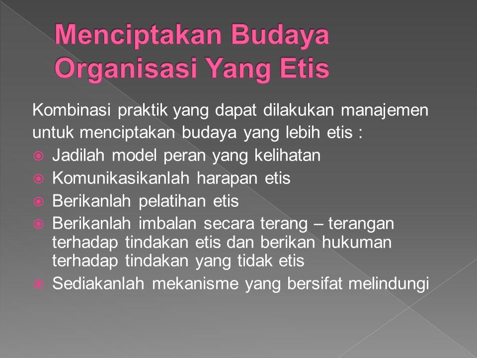 Menciptakan Budaya Organisasi Yang Etis