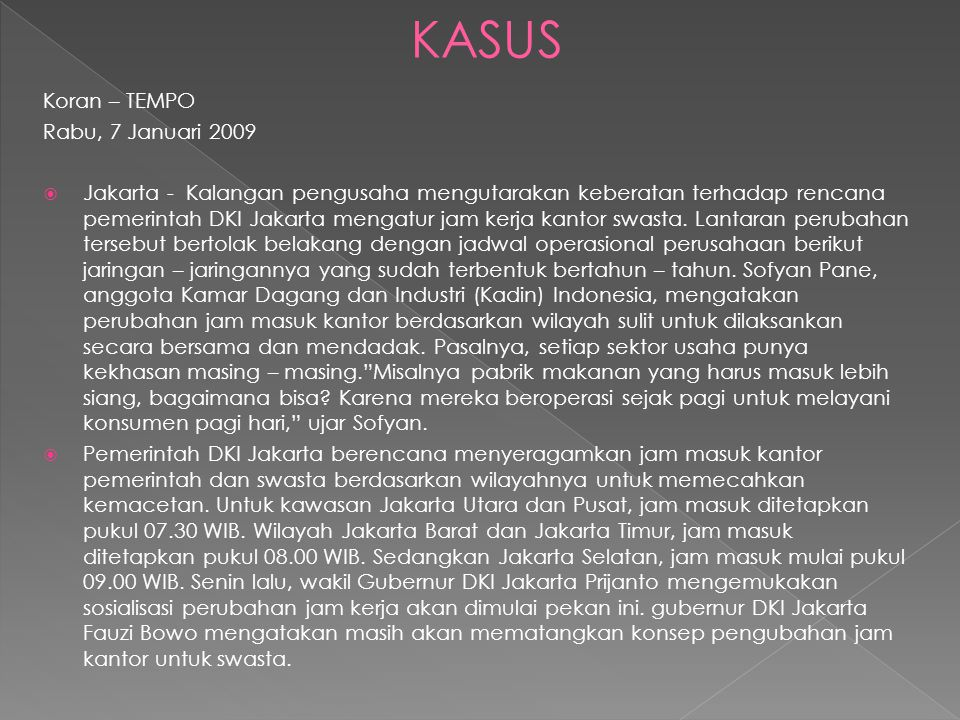 KASUS Koran – TEMPO Rabu, 7 Januari 2009